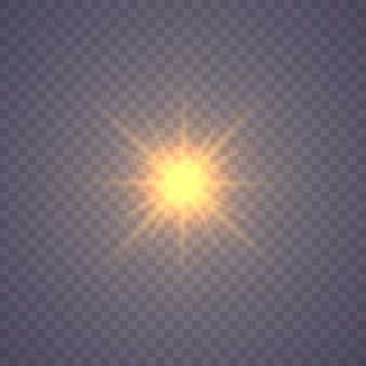 Świecąca gwiazda, drobinki słońca i iskry z efektem rozświetlenia