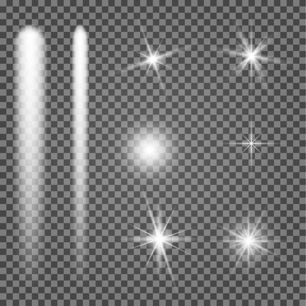 Świecąca gwiazda. lekki blask iskry. efekt rozbłysku