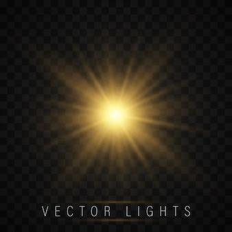 Świecąca gwiazda, słońce iskrzy z efektem podświetlenia.