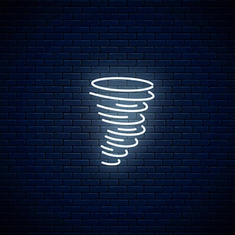 Świecąca ikona pogody huragan neon. symbol burzy w neonowym stylu do prognozy pogody w aplikacji mobilnej.