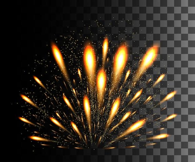 Świecąca kolekcja. złote fajerwerki, efekty świetlne na przezroczystym tle. flara słoneczna, gwiazdy. lśniące elementy. świąteczne fajerwerki. ilustracja