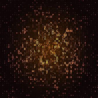Świecąca mozaika liter na ciemnym tle. streszczenie tło wektor. macierz liter