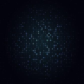 Świecąca mozaika liter na ciemnym tle