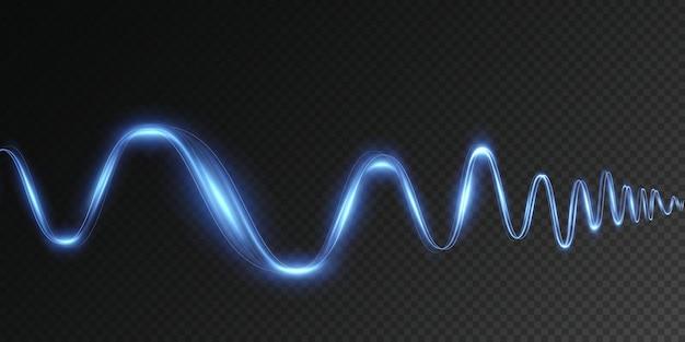 Świecąca niebieska dynamiczna wirówka futurystyczna linia paska świetlnego w ruchu na przezroczystym tle png