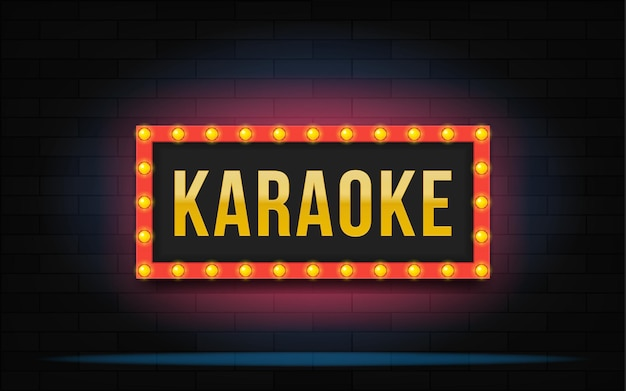 Świecąca ramka z napisem karaoke. nowoczesna ilustracja.