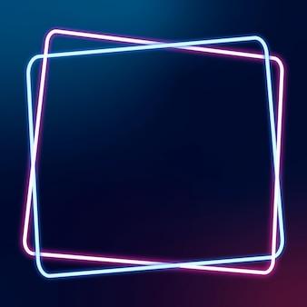 Świecąca różowa i niebieska neonowa ramka