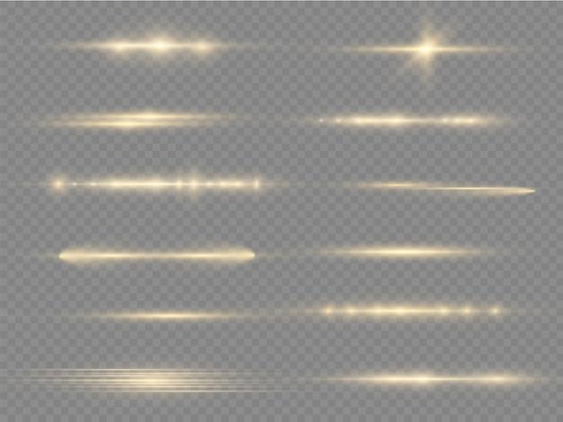 Świecąca żółta linia promienie laserowe jasne złote odblaski poziome promienie świetlne flash flary obiektywu;