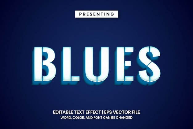 Świecące biało-niebieski efekt tekstowy