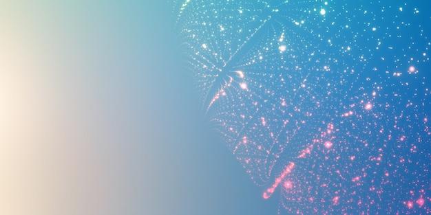 Świecące cząsteczki na gradientowym tle