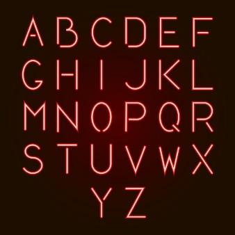 Świecące czerwone litery alfabetu neonowego od a do z ..