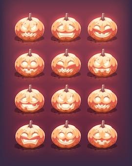 Świecące dynie halloween zestaw. wyrzeźbione emocje na twarzy. ilustracja.
