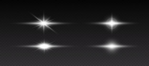 Świecące efekty świetlne. błyszczące i świecące gwiazdy, jasne błyski światła z promieniującym światłem. przezroczyste efekty świetlne na białym na czarnym tle. ilustracja wektorowa