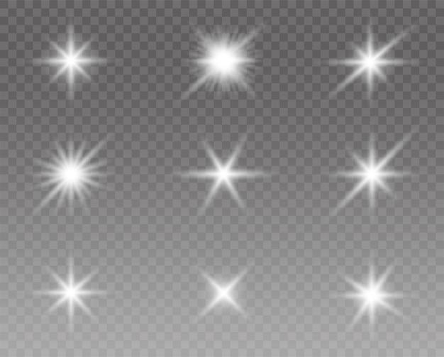 Świecące efekty świetlne, rozbłysk, słońce i zestaw gwiazd.