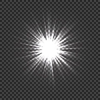 Świecące efekty świetlne z przezroczystością. lekka eksplozja. rozbłyski obiektywu, promienie, gwiazdy i błyszczy z bokeh