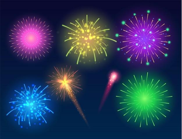 Świecące fajerwerki wielokolorowa kolekcja jasnych fajerwerków