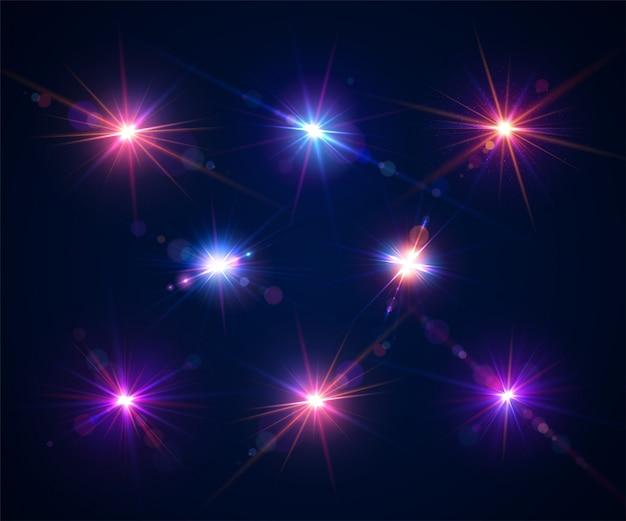 Świecące flary obiektywu. zestaw pięknych efektów olśnienia z bokeh i drobinami