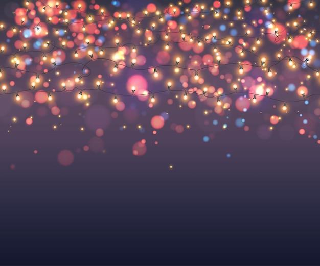 Świecące girlandy tła żarówki