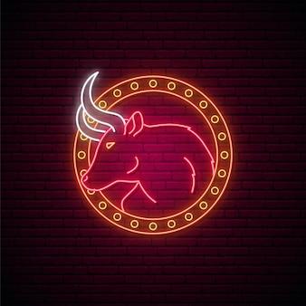 Świecące godło red bull na białym tle w ramce koło