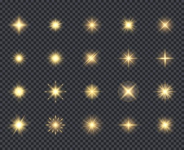 Świecące gwiazdki ikona. efekty uroczystości piękne iskry oświetlenie promieni realistyczne kolekcja ikon