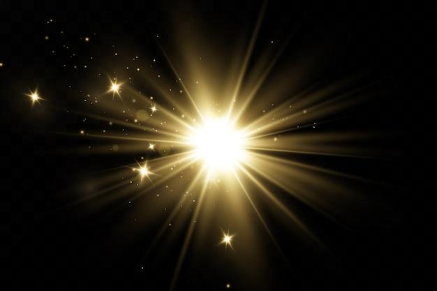 Świecące gwiazdy efekt świetlny na czarnym tle