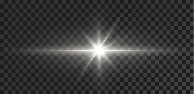 Świecące gwiazdy na przezroczystym białym tle efekty olśnienia blask blasku wybuchu białego