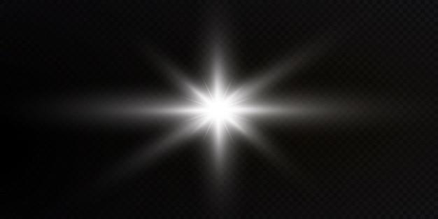 Świecące gwiazdy na przezroczystym białym tle świecące gwiazdy piękny blask słońca