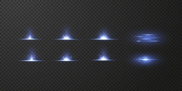 Świecące gwiazdy neonowe na białym na czarnym tle. efekty, flara obiektywu, połysk, eksplozja, światło neonowe, zestaw. lśniące gwiazdy, piękne niebieskie promienie.