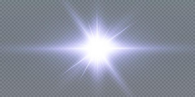 Świecące gwiazdy neonowe na białym tle na czarnym tle. efekty, flara obiektywu, połysk, eksplozja, światło neonowe, zestaw. lśniące gwiazdy, piękne niebieskie promienie. ilustracja.