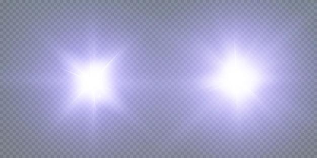 Świecące gwiazdy neonowe na białym tle na czarnym tle. efekty, flara obiektywu, połysk, eksplozja, światło neonowe, zestaw. lśniące gwiazdy, piękne niebieskie promienie.