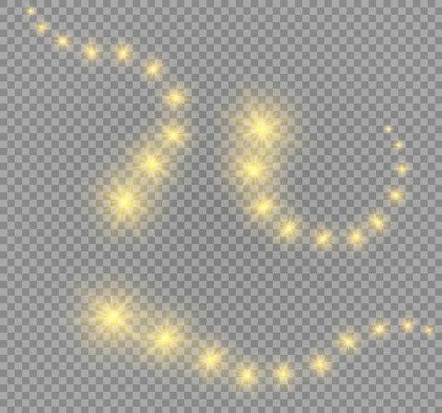 Świecące gwiazdy, światła i iskierki. przejrzyste efekty