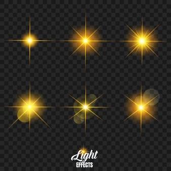 Świecące gwiazdy z ustawionym efektem podświetlenia