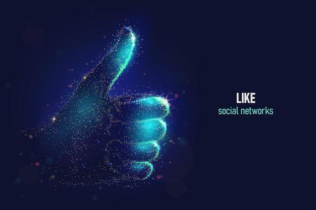 Świecące jak ilustracja wektorowa gest dłoni wykonane z cząstek neonowych. bright magiczna sieć społecznościowa kciuki w górę sztuki znakowej w nowoczesnym stylu abstrakcyjnym składa się z kolorowych kropek.