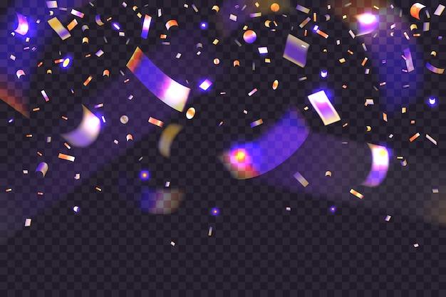 Świecące konfetti neonowe. 3d spadający brokat i złoty blichtr
