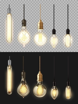Świecące lampy, żarówki. żarówki retro 3d o różnych kształtach i formach z podgrzewanym drutem zwisającym z góry, realistyczny zestaw