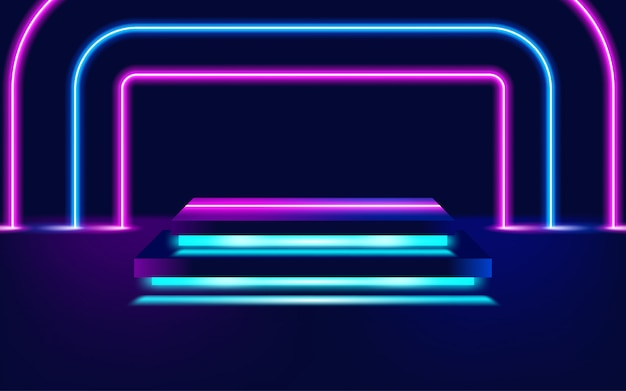 Świecące linie neonowe, koncepcja światła magicznej energii miejsca. ilustracja