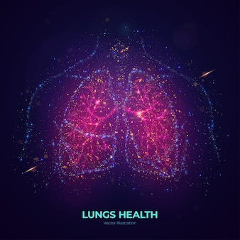 Świecące ludzkie płuca ilustracja wektorowa wykonana z cząstek neonowych. jasna, magiczna grafika koncepcyjna zdrowia płuc w nowoczesnym stylu abstrakcyjnym składa się z kolorowych kropek.
