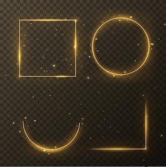 Świecące magiczne kwadratowe i koło ilustracja ramki