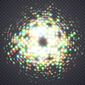 Świecące magiczne światła pyłu. ilustracja na białym tle. koncepcja graficzna dla twojego projektu