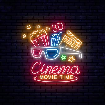 Świecące neon kino znak
