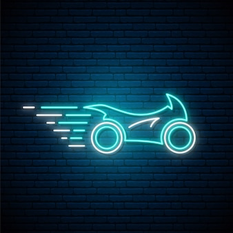 Świecące neon sport motocykl znak.