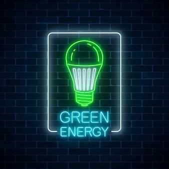 Świecące neon zielony żarówka led z tekstem rozmowy energii w ramce prostokątnej. symbol koncepcji energii ekologicznej.