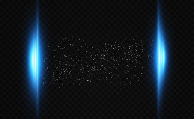 Świecące neonowe linie na przezroczystym tle. streszczenie projekt cyfrowy.