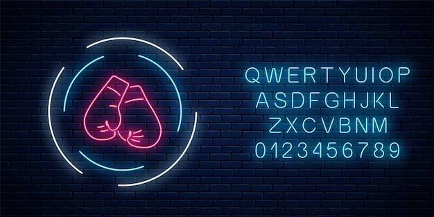 Świecące neonowy klub bokserski znak w ramce koło z alfabetem. neonowy szyld klubu walki.