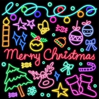 Świecące neony doodle wzór na obchody bożego narodzenia.