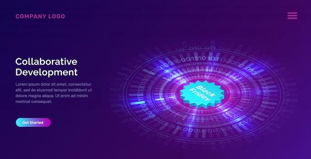 Świecące niebieski neon pierścień i czarny piątek szablon sieci web