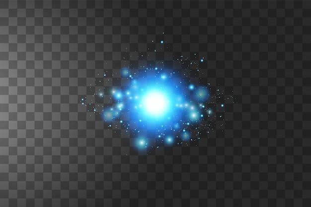 Świecące niebieskie gwiazdy na białym tle. ilustracji wektorowych.