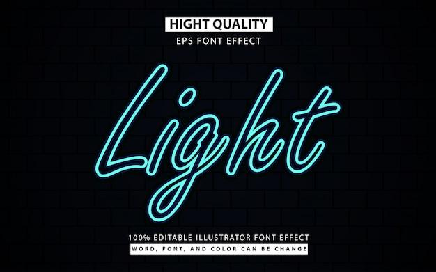 Świecące niebieskie światło neonowe styl tekstu efekt