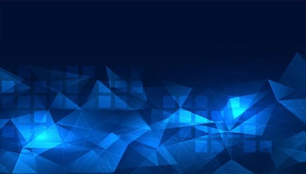 Świecące niebieskie tło cyfrowe low poly