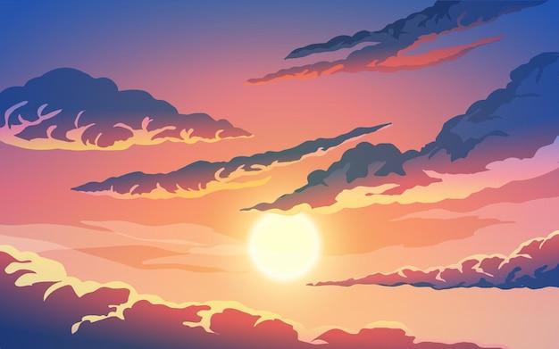 Świecące niebo zachód słońca z chmurami