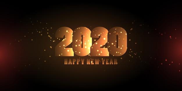 Świecące numery szczęśliwego nowego roku banner